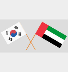 South korea and united arab emirates flags vector