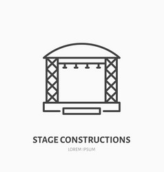 Stage constructions flat line icon scene event vector