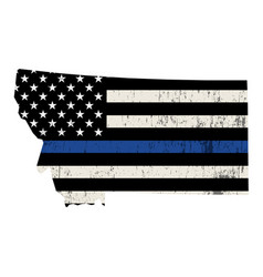 state montana police support flag vector image