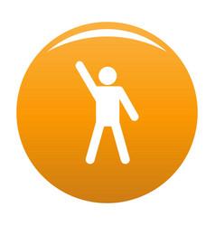 Stick figure stickman icon orange vector