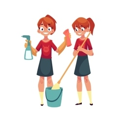 Teenage girl cleaning house washing floors vector image