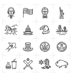 Usa icon set american culture icons thin line vector
