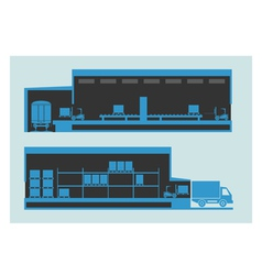 Warehouse The unloading and loading process vector image