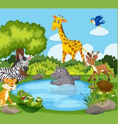 Wild animals around a pond vector