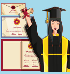 Woman graduted with nuform character vector