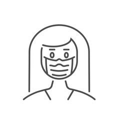 woman wit medical mask thin line icon vector image