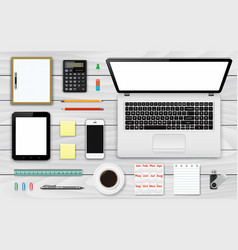 Workplace top view office and business work vector