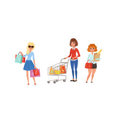 young woman carrying shopping bags and pushing vector image