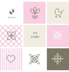 Baby shower design elements for baby shower vector image
