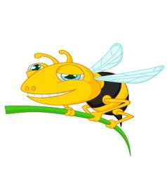 Bee cartoon holding tree vector image vector image