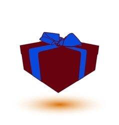 deep red gift box present with blue bow and ribbon vector image vector image