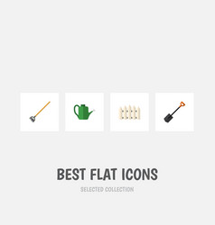 Flat icon farm set of wooden barrier tool spade vector