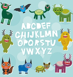 Funny monsters party card design alphabet from A vector image vector image