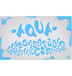 aqua hand drawn signs and numbers vector image vector image