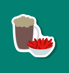 paper sticker beer and nuts vector image vector image