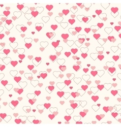 Pink hearts seamless pattern beige background vector image vector image