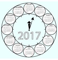 Simple Calendar 2017 circles clock time year vector image