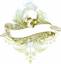 skull banner grunge illustration vector image vector image