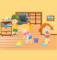 Three kids cleaning in the house vector
