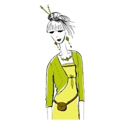 Young fashion woman in boho style for t-shirts vector image vector image
