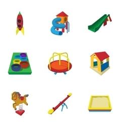 Backyard entertainment icons set cartoon style vector
