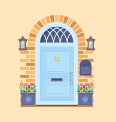 blue front door on the yellow brick wall with two vector image vector image