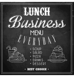 Business Lunch Menu on a Chalkboard vector image