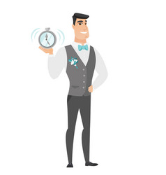 caucasian groom holding alarm clock vector image vector image