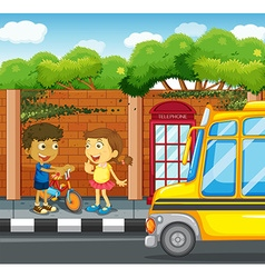 Children hanging out on the sidewalk vector image vector image