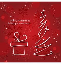 christmas tree and gift box vector image vector image