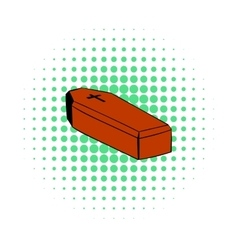 Coffin icon comics style vector image vector image