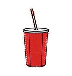 Color crayon stripe cartoon plastic soda vector