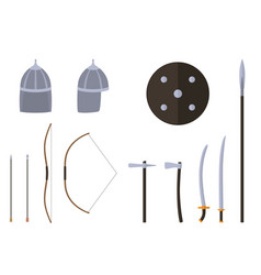nomad weapons and armors set nomad warrior vector image