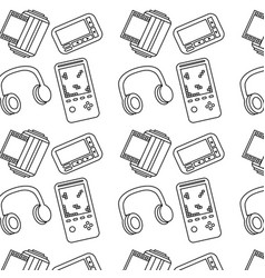 seamless pattern retro vintage video game vector image