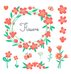 simple cute flowers and butterflies for the design vector image vector image