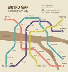 vintage colors subway map concept vector image vector image