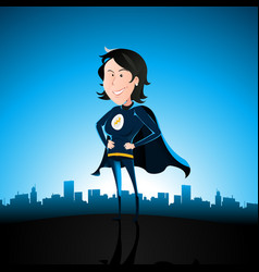 cartoon blue super lady vector image