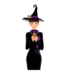 halloween of young witch with brown hair and blue vector image