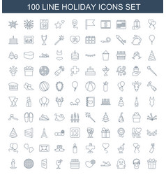 100 holiday icons vector image