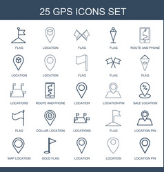 25 gps icons vector