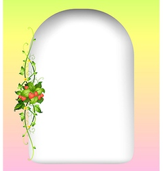 An empty surface with a strawberry plant at the vector image
