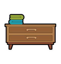 Bedroom drawer with clothes vector