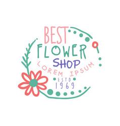 best flower shop logo estd 1969 badge for floral vector image
