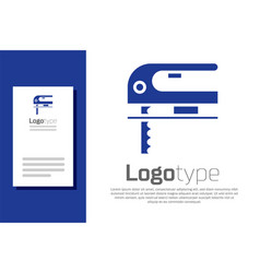 blue electric jigsaw with steel sharp blade icon vector image
