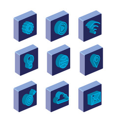 business concept isometric set icons vector image