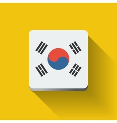 button with flag south korea vector image