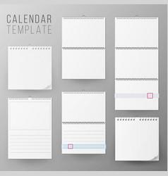 calendar template set realistic calendar vector image