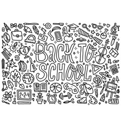 cartoon cute doodles back to school word black vector image