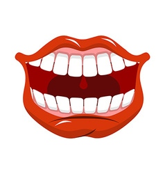 Cheerful smile Red lips and white teeth Open mouth vector
