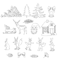 Christmas in forest vector